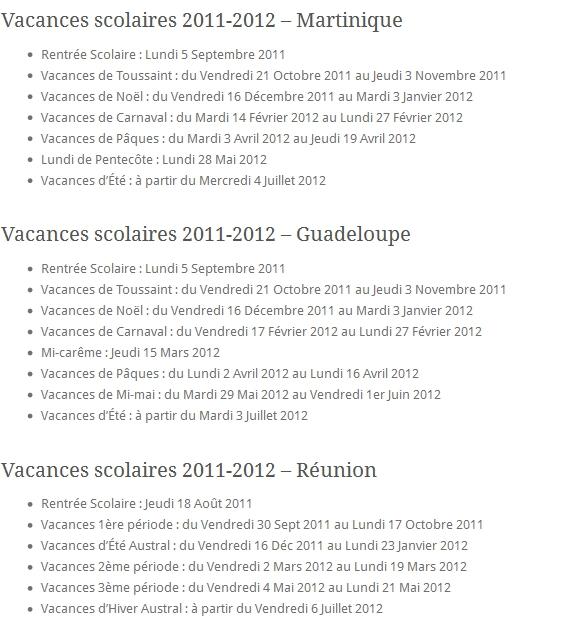 Vacances Scolaires 2011-2012 Martinique Guadeloupe Réunion