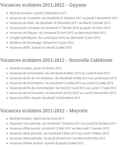 Vacances Scolaires 2011-2012 Guyane Nouvelle Calédonie Mayotte