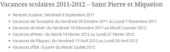 Vacances Scolaires 2011-2012 Saint Pierre et Miquelon