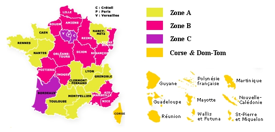 Carte de la France par Zone