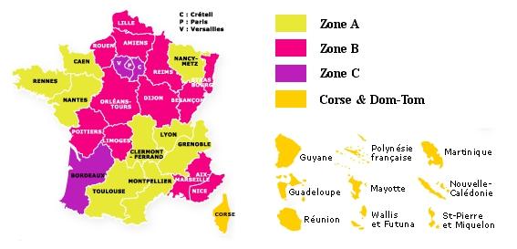 Carte de la France par Zone