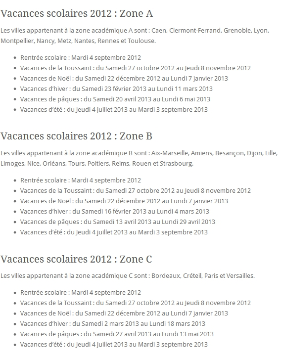Vacances scolaires 2012-2013 : Zone A, Zone B, Zone C