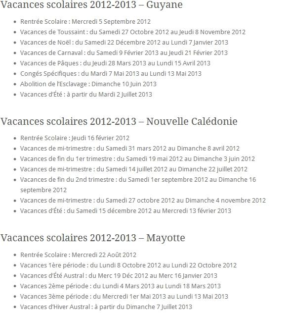 Vacances scolaires 2012-2013 - Guyane Nouvelle Calédonie Mayotte