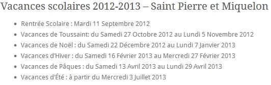 Vacances scolaires 2012-2013 Saint Pierre et Miquelon