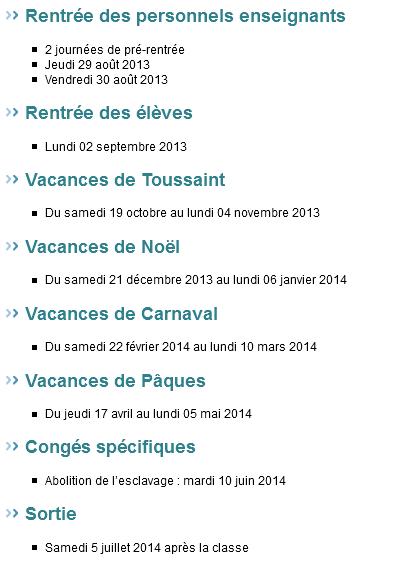 Calendrier 2013-2014 Guyane