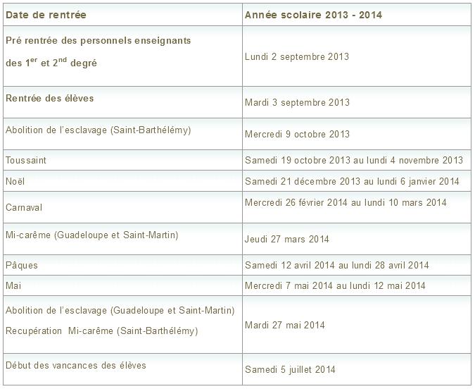 Le calendrier de l'année scolaire 2013 2014