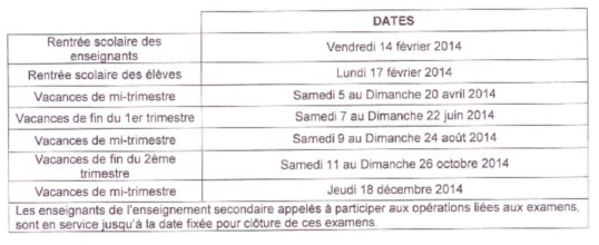 Calendrier scolaire 2015  DomTomNews
