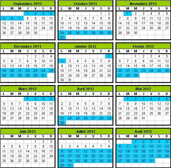 Calendrier vacances scolaires 2011-2012 Corse