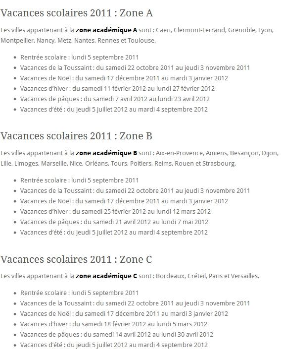 Vacances Scolaires 2011-2012 Zone A Zone B Zone C