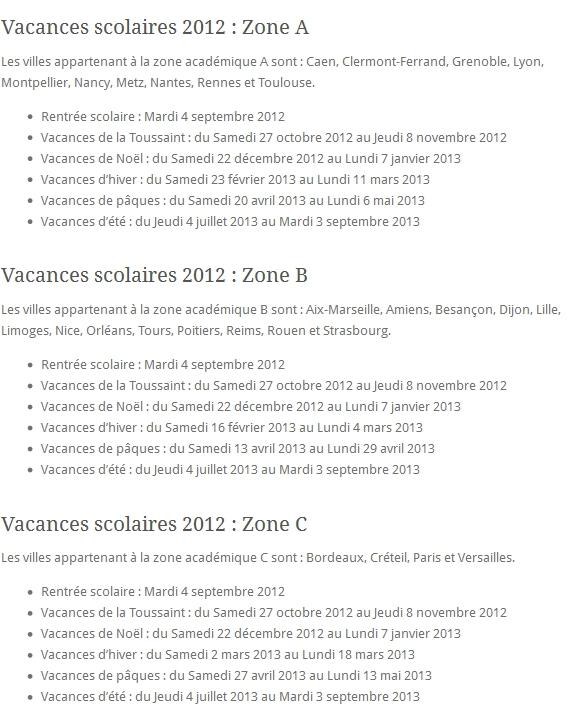 Vacances scolaires 2012-2013 : Zone A, Zone B, Zone C