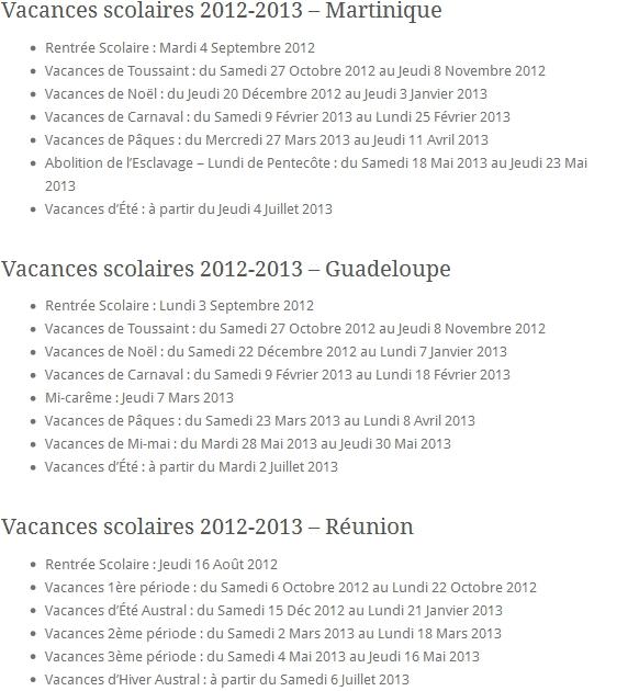 Vacances scolaires 2012-2013 - Martinique Guadeloupe Réunion