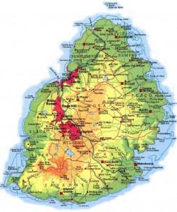 La carte de l'île Maurice