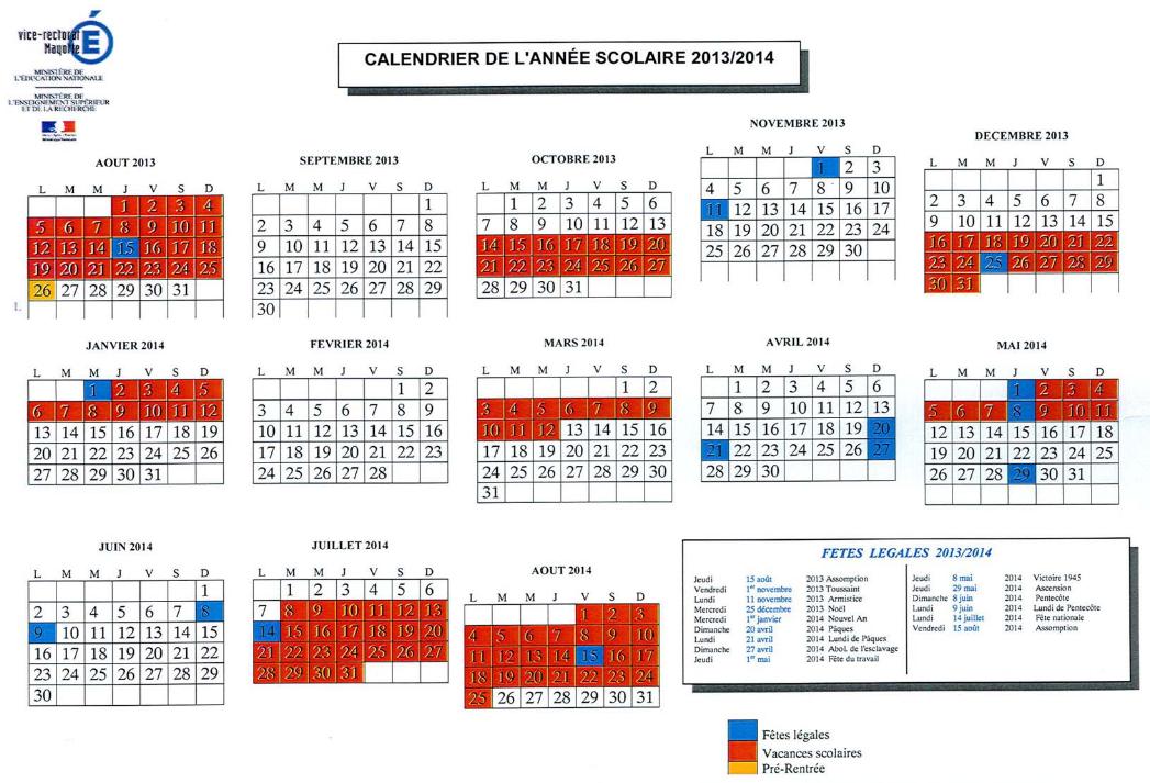 calendrier scolaire academie reunion