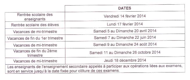 Vacances scolaires 2014 Wallis et Futuna
