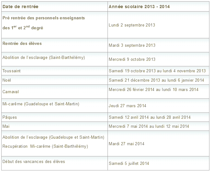Vacances scolaires 2013-2014 Guadeloupe