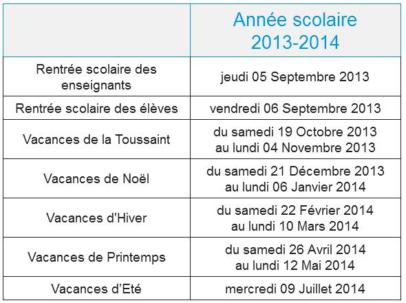 Calendrier scolaire 2013-2014 de la Corse