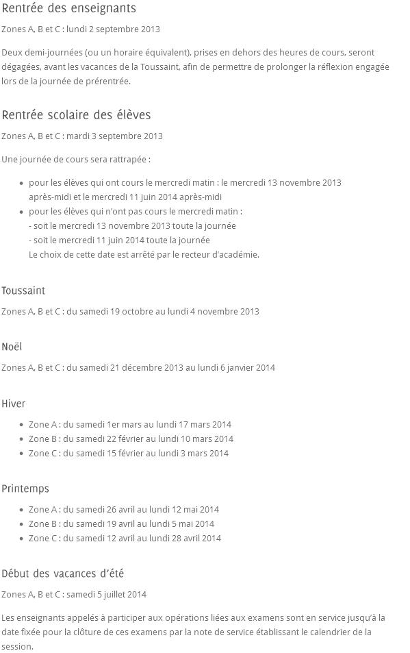 Vacances scolaires 2013-2014