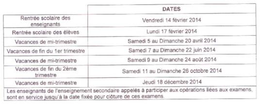Vacances scolaires à Wallis et Futuna pour 2014