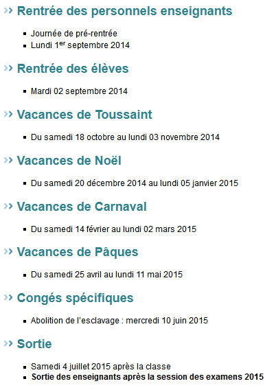 dates vacances scolaires 2014-2015 guyane
