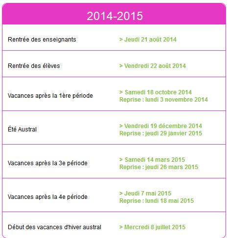 dates vacances scolaires 2014-2015 réunion