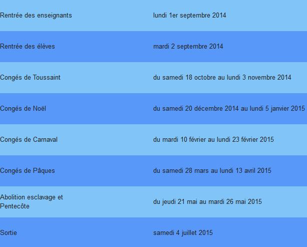 Vacances scolaires 2014-2015 : Martinique