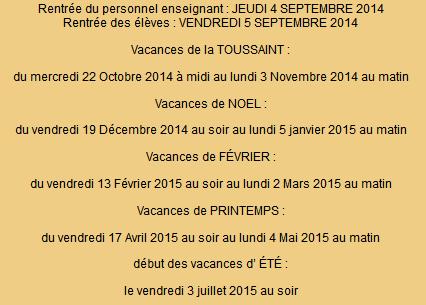 Dates des vacances scolaires 2014-2015 St. Pierre And Miquelon