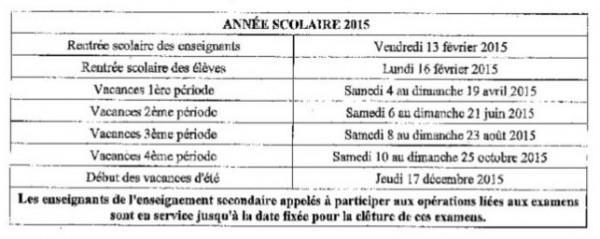 Calendrier scolaire 2015 Wallis et Futuna