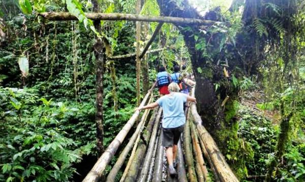 Un pont de fortune pour accéder à la Millenium Cave